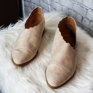 Qupid Cream Scallop Cut Out Slip On Shoes